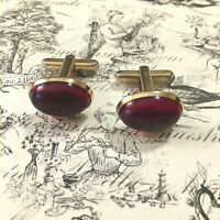 Vintage Hickok Red Lucite Cuff Links Oval Made inUSA Nashville Estate Jewelry