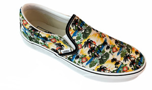 New Vans Men's Classic Slip On Aloha Size 9 Canvas White Shoes Fast Shipping
