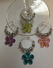 acrylic flowers set of 4 wine glass charms