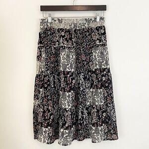 LOFT Womens Size 4 Petite Floral Textured Flare Midi Length Skirt Multicolor