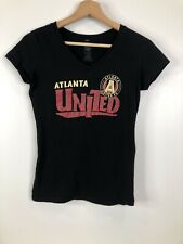 Atlanta United Soccer Girls Medium Black V Neck Short Sleeve T Shirt