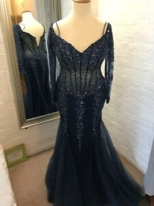 Jovani navy full length gown with long sleeves. US size 14, UK small 16
