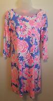 Lilly Pulitzer 100% Pima Cotton Dress Sz: Sm Tie back Pink Blue Coastal Print
