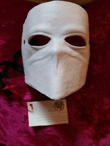 NEW Leather Bauta Venetian Mask Casanova Handmade in Italy White