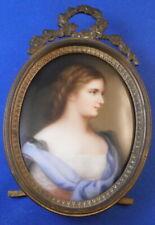 Ancien 19thC Allemande Porcelaine Jeune Femme Portrait Plaque Porzellan Image