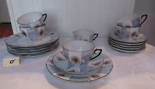 Beautiful Set of Cake Plates,  Cups and Saucers China Czechoslovakia 18 pc.