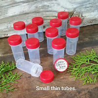 12 Tiny Tubes Vial Pills Tablet Powder Container Powder Red Caps #2810  DecoJars