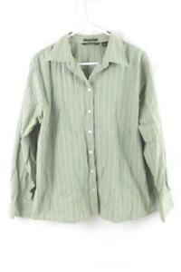 Eddie Bauer Button Up Shirt Wrinkle Resistant Women's Size XL Green Striped