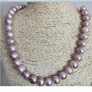 """18"""" AAA+ 11-12MM NATURAL PURPLE SOUTH SEA BAROQUE PEARL NECKLACE 14K gold"""