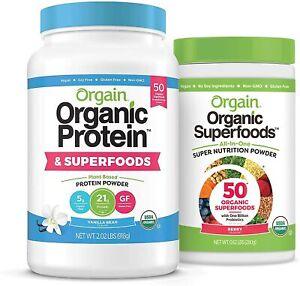 Orgain Bundle - Berry Superfoods Powder and Vanilla Protein & Superfoods Powder