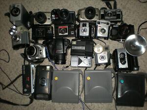 Lot 22 Vintage Mixed Old Camera ASIS UNTESTED Polaroid Minolta Kodak Olympus