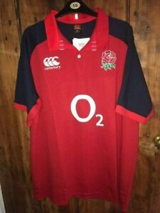 MENS ENGLAND RUGBY SHIRT, CLASSIC STYLE RED AWAY JERSEY, XL, BNWT & BAGGED