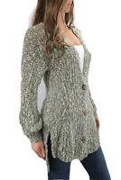 Anthropologie Angel of the North Mori Cardigan Sweater Gray Marled Knit Medium