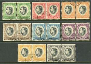 South West Africa Scott #125-132 PAIRS USED King George VI CV$8+ ISH-1