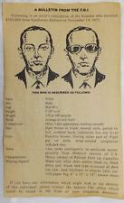 D.B. Cooper FBI Bulletin Wanted Poster, Hijacker, Skyjacker, Criminal, DB, D B