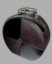 Make Up Suitcase Plush Black Round  Cosmetic Bag Tote / Faux Leather & Suede