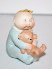 Vintage 1984 Cabbage Patch Ceramic Boy with Teddy Bear Figure figurine