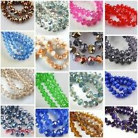 Wholesale Mixed 100Pcs Faceted Glass Charms Beads Spacer Rondelle Finding 4x3mm