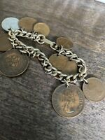 Vintage Bracelet South Africa Suid African 1960s 10 Coins Charms