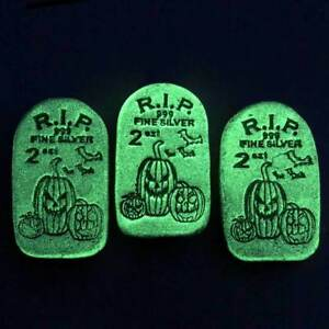 One Tombstone Glow In The Dark Jack-O-Lantern 2 oz .999 Silver Bar Monarch MPM