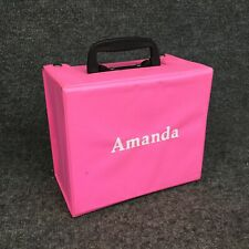 Vintage Amanda Personalized Hot Pink Vinyl Lunch Box In Excellent Condition