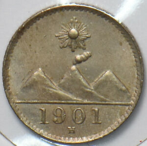 Guatemala 1901 H 1/4 Real 193214 combine