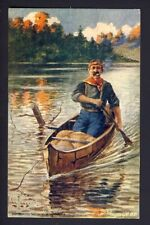 COWBOY - canoe - The Voyageur - The French Canadian Voyageur - John Innes artist