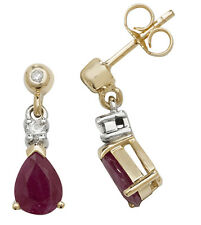 Ruby and Diamond Earrings Yellow Gold Drops Appraisal Certificate