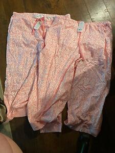 set of 2 womens capri pajama bottoms pink pattern large