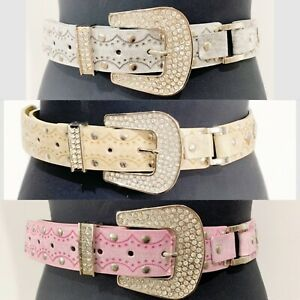 Diamanté Buckle Belt StuddedMetal Leather Western Cowgirl Stylish Classy Elegant