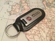 FIAT 500 porte clés gravé et rempli sur cuir
