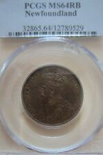1919 Newfoundland Large Cent Coin. PCGS MS-64 RED RARE