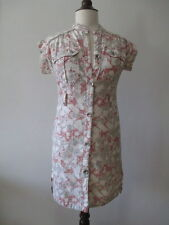 Mon Petit Oiseau Dress Ivory Red Gray Abstract Print Shirt  Dress Cotton Sz S