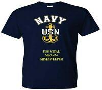 USS VITAL   MSO-474  MINESWEEPER VINYL & SILKSCREEN NAVY ANCHOR SHIRT/SWEAT