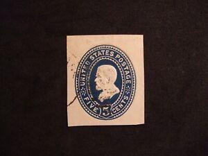 USA Postal Stationery Blue Used 5 cent Grant.  Scott U330 cut square on white