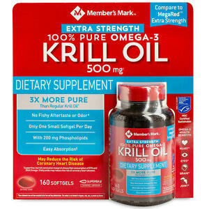 Member's Mark Extra-Strength Antarctic Pure Omega-3 Krill Oil, 500 mg (160 ct.)