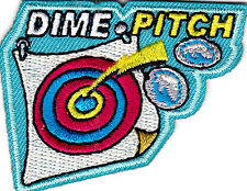 """DIME PITCH"" -  Iron On Embroidered Patch /Games - Fun - Children, Competition"