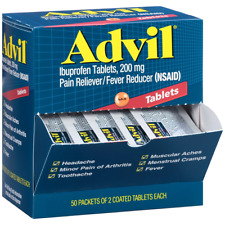 Advil Ibuprofen Tablets, 200mg, 50 Packets of 2 Coated Tablets Each