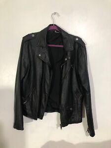 H&M faux leather retro bikers jacket medium- ****