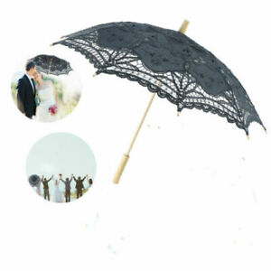 Vintage Spitzenschirm Damen Weiß /Schwarz  Brautschirm Hochzeitsschirm Spitze