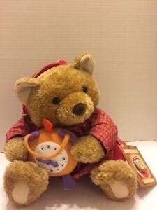 "Hallmark Benson Bear Brown 12"" Seated Storybook Friends Clock Pj's Red Vtg"