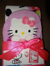 Hello Kitty 2 Piece Bath Set-Bath Towel & Wash Mitt-New