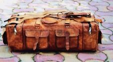 "Genuine Leather Bag Duffle Travel Unisex Luggage Gym Vintage Brown 30"" Bag"