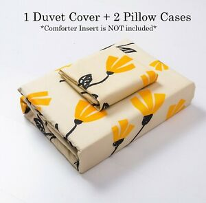 DaDa Bedding Fresh Yellow Fleur Tulips Floral Duvet Cover Set w/ Pillow Cases