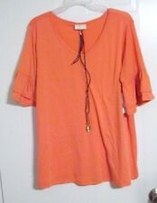 Bobbie Brooks Woman's Ruffle Sleeve V-Neck Top with Necklace - Plus Size: 2X