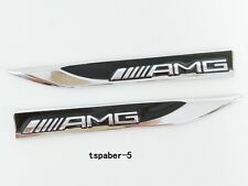 2Pcs New AMG Blade Fender Badge Car Body Side Skirts Sticker Emblem