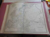 100% ORIGINAL LARGE EUROPE MAP BY JOHNSTON NATIONAL ATLAS C1857 VGC