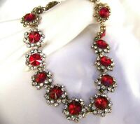 Glittering Vintage Style Crimson Red Crystal  Rhinestone & Glass Necklace