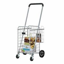 Utility Shopping Cart Foldable Jumbo Basket Grocery Laundry w/ Wheels Silver