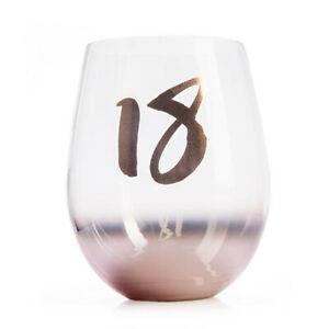 18TH BIRTHDAY Blush Novelty Gift Stemless Drinking Wine Liquor Glass